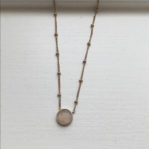 Francesca's Rose Quartz Gold Necklace